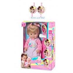 Писяющий резиновый пупс-девочка с волосами 43см (98903-А)розовый