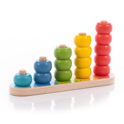 Пирамидка-счеты WOODY разноцветная