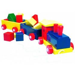 Паровоз цветной, 2 вагона с кубиками 82141