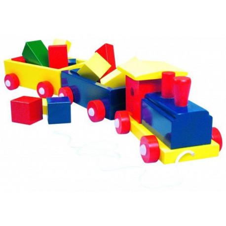 Паровоз цветной, 2 вагона с кубиками 82141 уценка