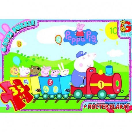 Пазлы из серии Свинка Пеппа, 35 эл. PP001 ТМ G-Toys