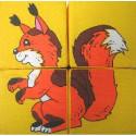 Набор мягких кубиков 4шт Дикие животные