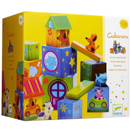 Набор Кубанимо, 14 кубиков + 3 животных Djeco 09102