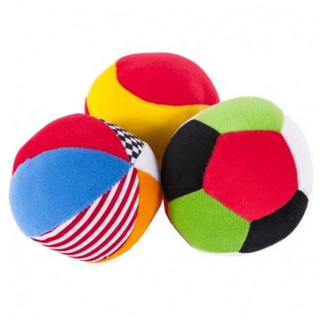 Мягкие игрушки-спортивные мячики Biba Toys 0 мес.+, 3 шт./уп. разноцветные (087BR)