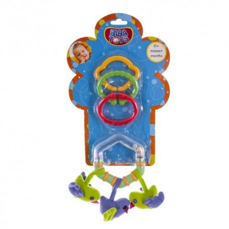 Кольцевая погремушка-подвеска с грызуном Biba Toys Три птички (107PP)