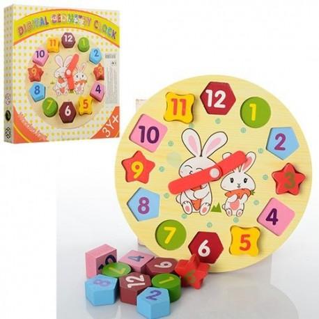 Деревяная игрушка Часы MD 0719 сортер