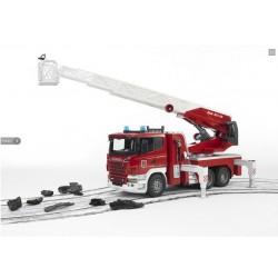 Пожарная машина Bruder Scania R-series с лестницей (водяная помпа,свет,звук) 03590