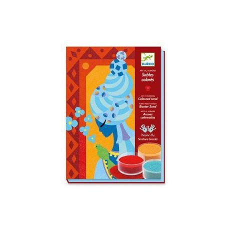 Художественный комплект Djeco рисование цветным песком Голубые принцессы 08637