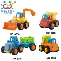 Набор машинок Huile Toys 326 Дружная команда: грузовичек, бетономешалка, трактор, прицеп, экскаватор