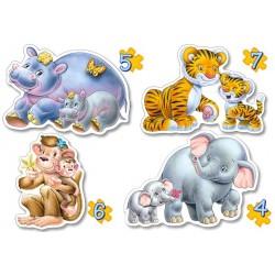 Дикие животные, 4хPuzzle(4, 5, 6 ,7) В-04126