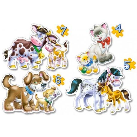 Пазл Животные , 4хPuzzle(4, 5, 6 ,7) В-04096