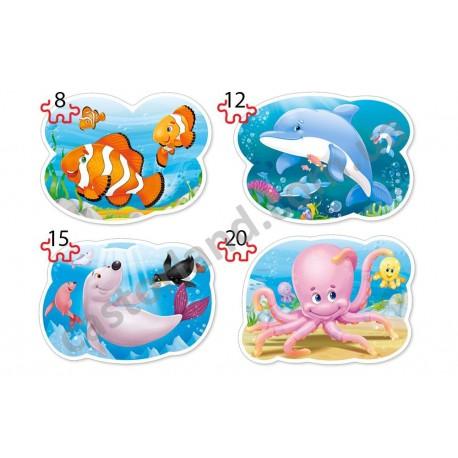 Подводный мир 4xPuzzle (8,12,15,20) В-043026