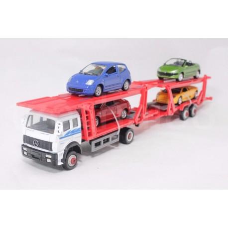 Набор машин Welly, автоперевозчик + 4 машинки металлические, масштаб 1:60 (79781-10G)