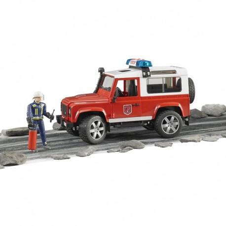 Пожарная машина Land Rover Defender + фигурка пожарного ,М1:16 (02596)