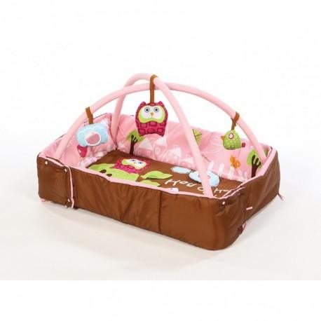 """Развивающий коврик """"Сова"""" с поднимающимися бортиками (розовый) 2875"""