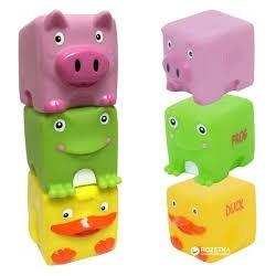 """Baby Team 9051 Набор игрушек для ванной """"Кубики-зверушки"""", 3 шт"""