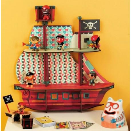Этажерка для детской комнаты Пиратский корабль DJ 03203 уценка