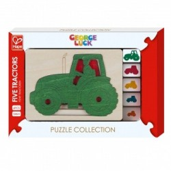 Серия пазлов Hape George Luck 5 тракторов (E6513)