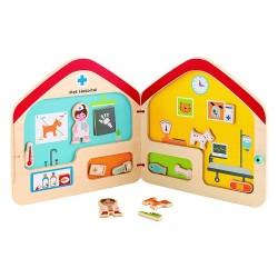 HAPE Игровой набор Деревянная книга с магнитами Ветеринар (E3016)
