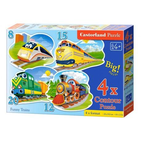 Castorland Набор пазлов Поезда 4х1 (8,12,15,20) B-043033