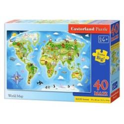 Castorland Пазл Maxi 40 деталей Карта мира (В-040117)