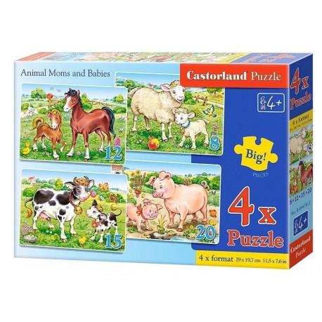 Домашние животные, 4xPuzzle(8,12,15,20) В-04416,