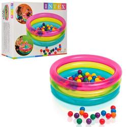 Бассейн 48674 детский, 3 кольца, мячи-50 шт., кор., 35,5-30,5-15 см