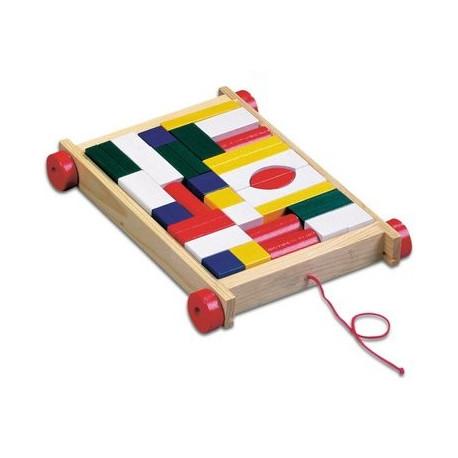 Тележка с цветными кубиками 34дет. 80151